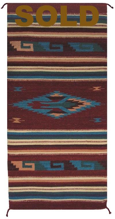 Zt1026 Mexican Zapotec Navajo Rug Replica Authentic
