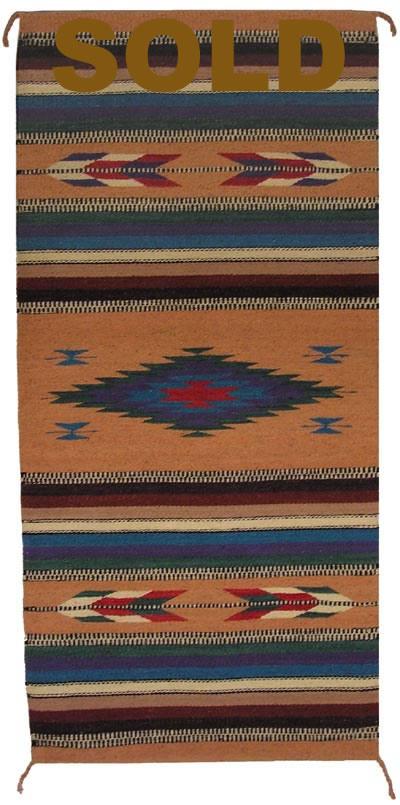 Zt1029 Mexican Zapotec Navajo Rug Replica Authentic